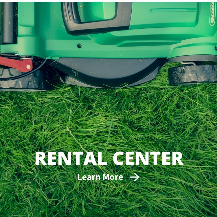 Rental Center callout with lawn mower