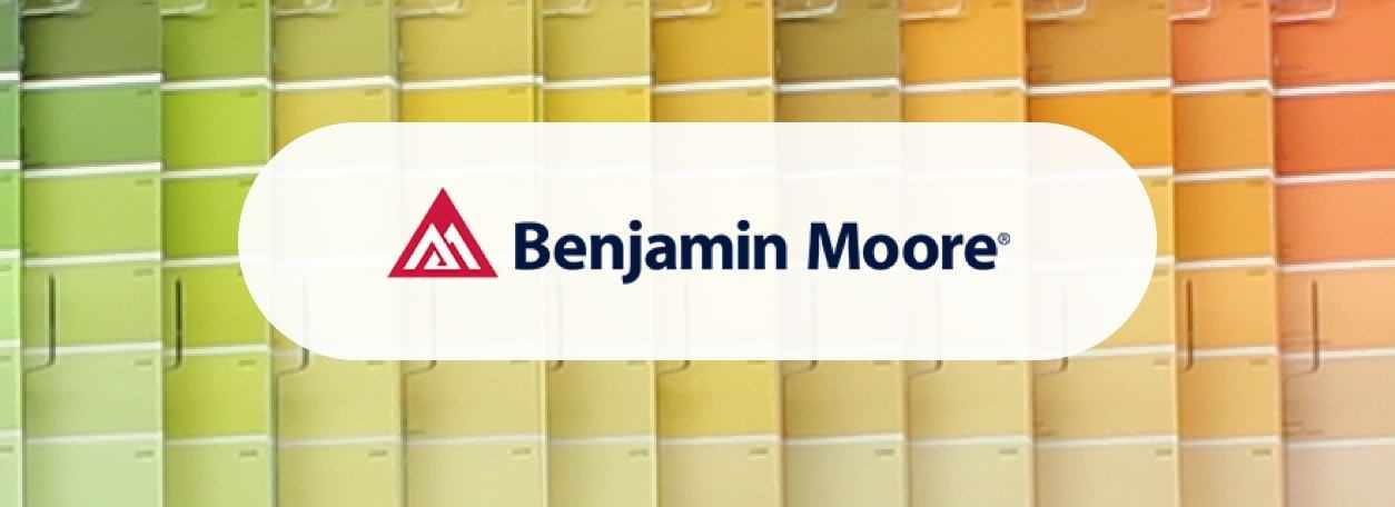 Benjamin Moore logo with color swatches