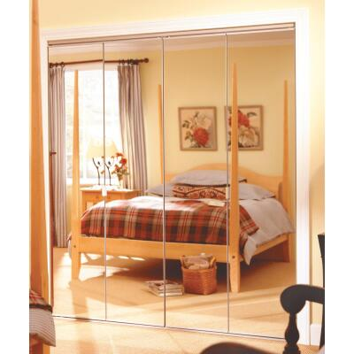 Erias Series 4900 30 In. W. x 80-1/2 In. H. Steel Frameless Mirrored White Bifold Door