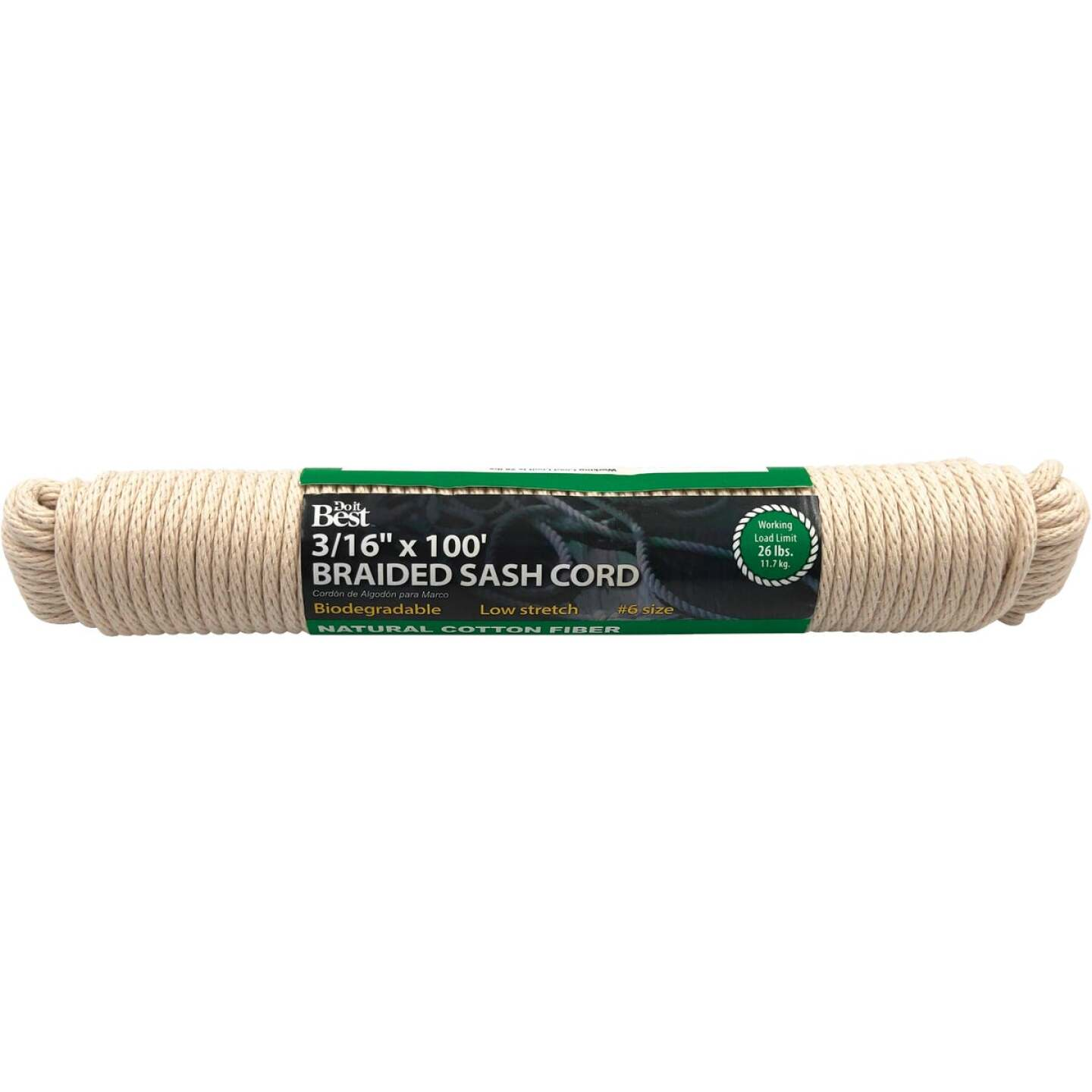 Do it 3/16 In. x 100 Ft. White Solid Braided Cotton Sash Cord Image 1