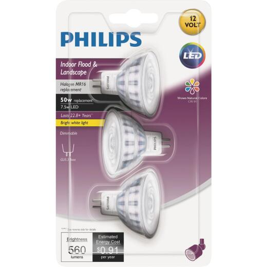 Philips Classic Glass 50W Equivalent Bright White MR16 GU5.3 LED Floodlight Light Bulb (3-Pack)