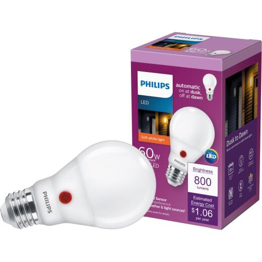 Philips 60W Equivalent Soft White A19 Medium Dusk to Dawn LED Light Bulb