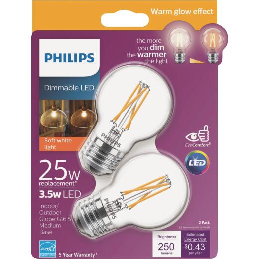 Philips Warm Glow 25W Eqivalent Soft White G16.5 Medium Dimmable LED Decorative Light Bulb (2-Pack)